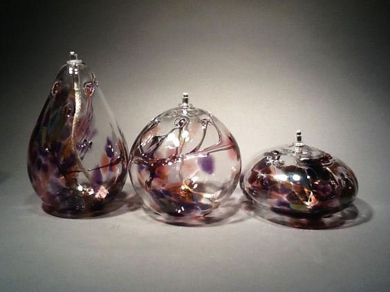 Metallic Purple Oil Lamp by Gray Art Glass. American Made. See the designer's work at the 2015 American Made Show, Washington DC. January 16-19, 2015. americanmadeshow.com #oillamp, #glass, #purple, #americanmade