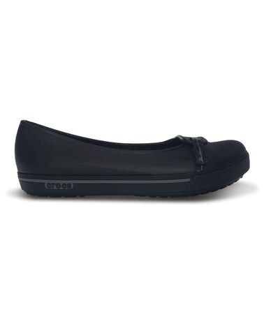 Another great find on #zulily! Black & Charcoal Crocband II.5 Flat - Women #zulilyfinds