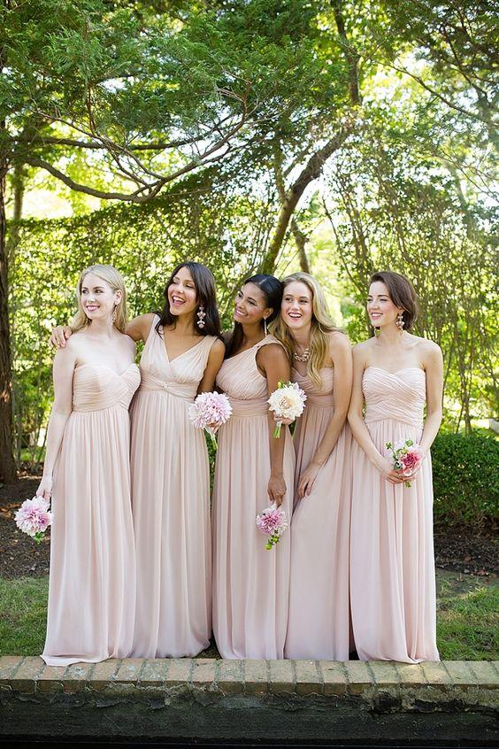 Donna Morgan Bridesmaids, Chantilly Chiffon Bridesmaids, Neutral Wedding, Hampton Wedding, Blush Pink Wedding