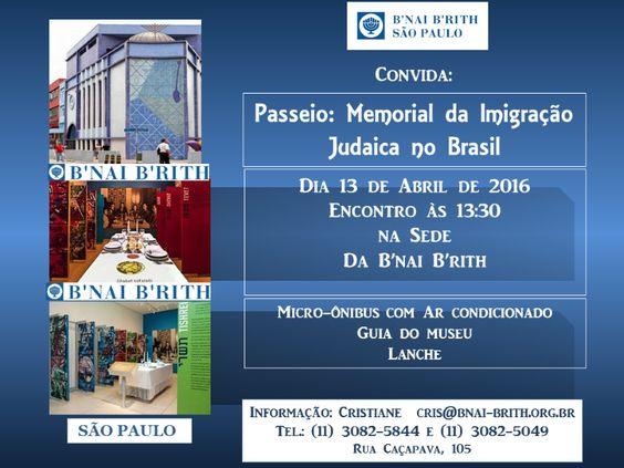 No próximo dia 13 de abril, às 13h30min. a B'nai B'rith São Paulo realiza uma visita guiada ao Memorial da Imigração Judaica no Brasil, no bairro do Bom Retiro. Recém- inaugurado, o Memorial é o mais novo marco cultural e histórico da cidade. Encontro às 13h30min, na sede da B'nai B'rith, à Rua Caçapava, 105.m…