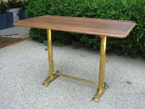 Adjustable Yacht Brass and Walnut Console Table image 2