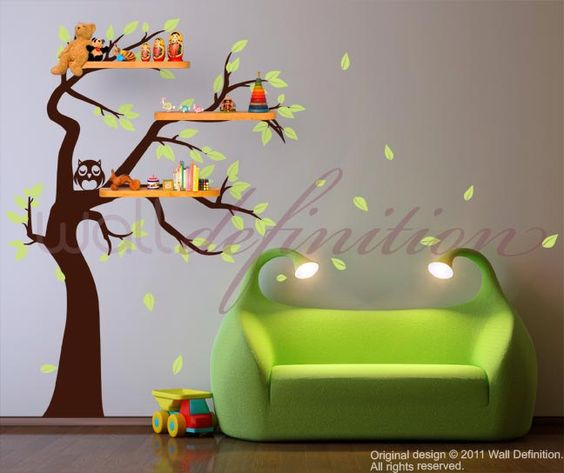 Tree Wall Stickers Nursery Wall Decals - Shelving Tree Decal with Owl and Falling Leaves