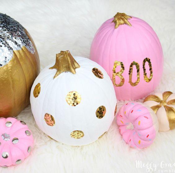 Sequin dot pumpkins #halloween: