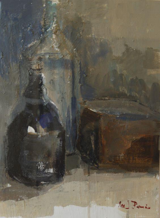 Blottles and box / Botellas y caja - Oil on canvas / Óleo sobre lienzo