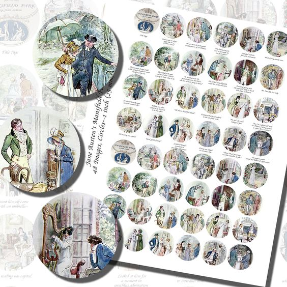 Images,Digital,Stickers,Collage,Illustration,jane austen,mansfield park,c e brock,brock,art,bottle cap,bottlecap