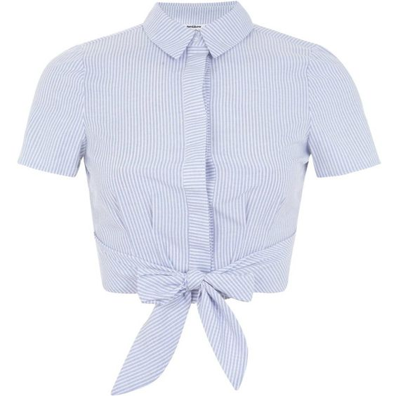 Miss Selfridge Petites Stripe Tie Shirt ($49) ❤ liked on Polyvore featuring tops, shirts, crop tops, blouses, petite, white, striped top, tie front top, tie crop top and white cotton shirt