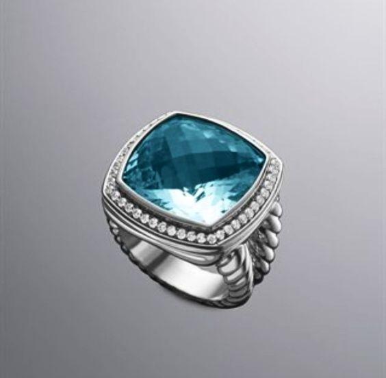 David Yurman Blue Topaz and Diamond 17mm Ring.