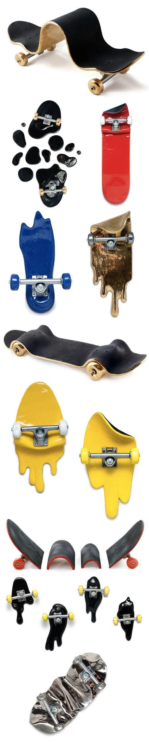 """El artista español Xavier Manosa en conjunto con el diseñador gráfico Alex Trochut se unieron para presentarnos una extraña colección de skate en cerámica llamada """"Skate Fails"""". La colección se centra a jugar con la tabla del skate produciendo resultados dignos de colgar en tu pieza o oficina."""