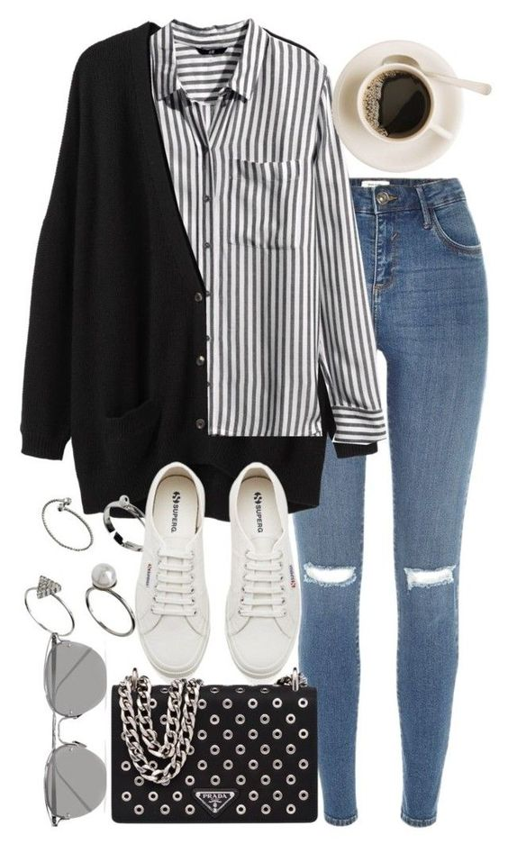 """""""Untitled #9536"""" by nikka-phillips ❤ liked on Polyvore featuring River Island, Organic by John Patrick, H&M, ASOS, Superga, Prada and Linda Farrow"""