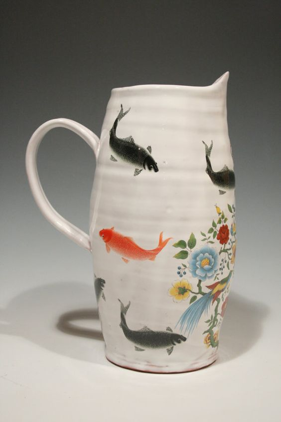 Pitcher with koi fish and vintage flower decals by rothshank, $135.00