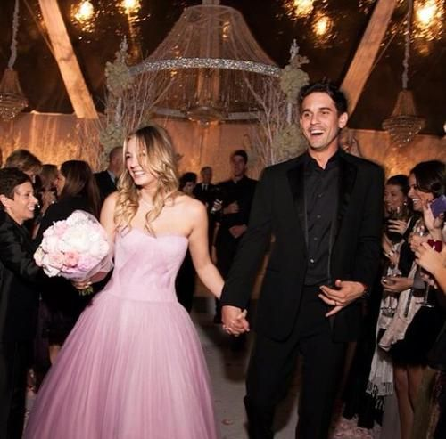 Kaley Cuoco's pink wedding dress