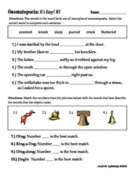 Worksheets Onomatopoeia Worksheet worksheets free samples and hope on pinterest this sample is the first activity in my onomatopoeiaits easy series i