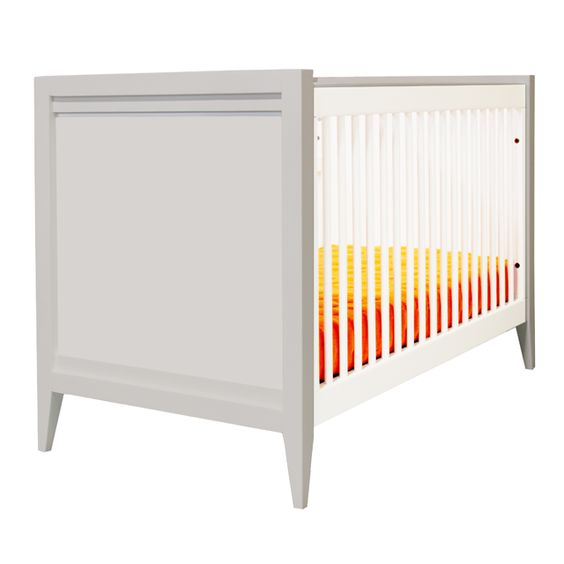 "Casey Crib in White with PN Custom ""Perfect Gray"" Sides - absolutely love this two-toned, modern crib! #PNshop"
