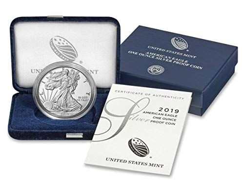American Silver Eagle in Plastic Air Tite and Blue Gift Box with our Certificate of Authenticity Dollar Uncirculated Us Mint 2019
