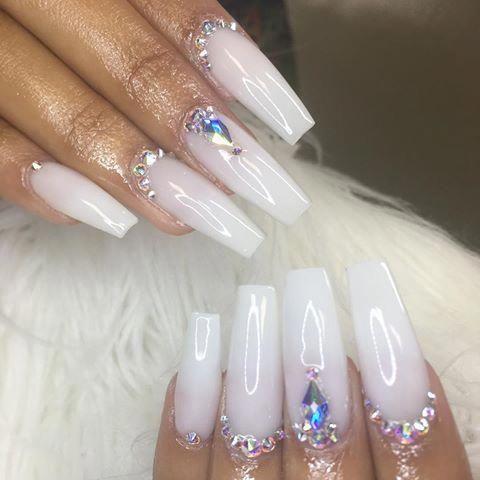 Soft White Acrylic Nails With Rhinestones Google Search Birthdaynails White Acrylic Nails Rhinestone Nails Nails Design With Rhinestones