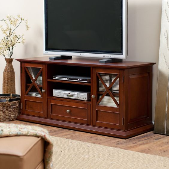 Have to have it. Belham Living Hampton 55 Inch TV Stand - Cherry - $299.98 @hayneedle