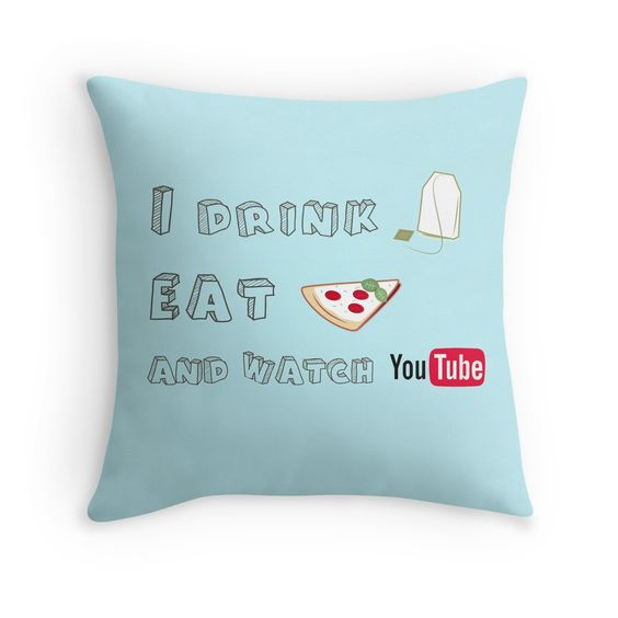 I drink tea, eat pizza and watch Youtubers - 01 Throw Pillow Pastel, Youtubers and Pizza