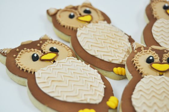 Owls - Autumn Cookies - Decorated Iced Sugar Cookies - One Dozen - Fall - Forest