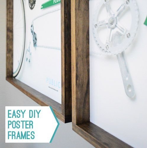 Frames only cost $14 to make ($7 each!) and the most challenging step was finding the patience to let the wood stain dry before I could finally hang them. Seriously, they weren't hard to make in the least.