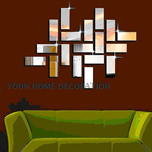 Coavas Sliver Color Square 3d Diy Mirror Wall Sticker Home Decor for Living Room
