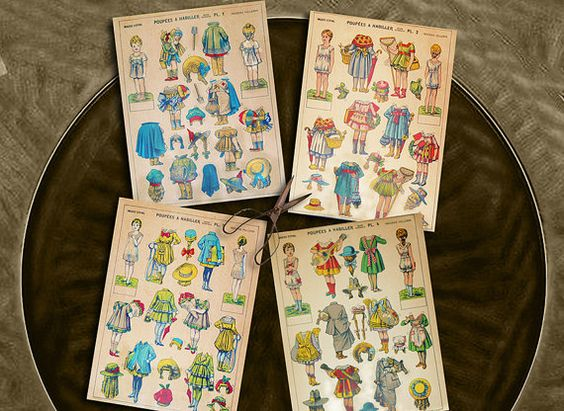Vintage Paper Dolls French Imagerie d'Epinal by mindfulresource #vintagepaperdoll #Frenchtoy #periodfashion #etsy