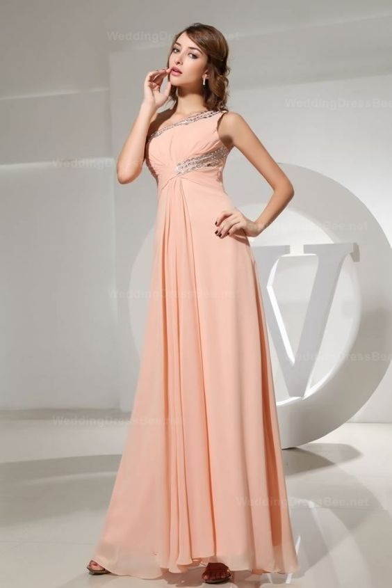 One-shoulder ruched top chiffon dress with beaded neckline