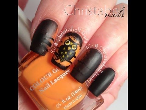 nail art - gufo di halloween