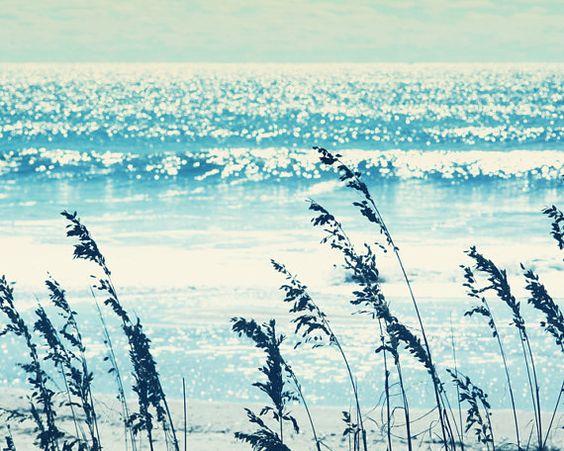 turquoise ocean beach print aqua navy indigo blue mint pale blue sea calm glistening water soft dreamy cottage wall art