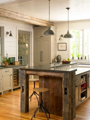 Home Decorating Ideas - Rustic Decor - Country Living (great use of barnwood, pendant lights and color of kitchen cabinets):