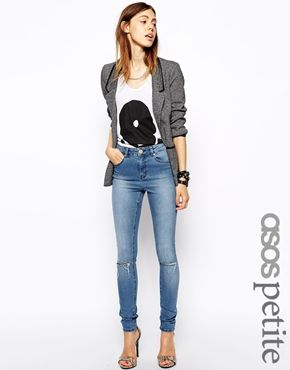 ASOS PETITE Ridley High Waist Ultra Skinny Jeans in Heritage Blue  ...