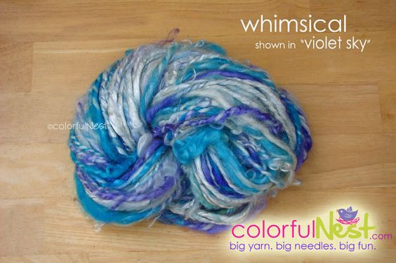 Funky Chunky Thick-n-Thin Handspun Yarn by Colorful Nest $32.50 - save 10% with code PIN10 at https://www.etsy.com/listing/75549826/funky-chunky-handspun-yarn-by-colorful  #knitting