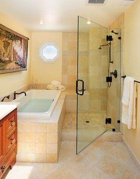 shower next to bath