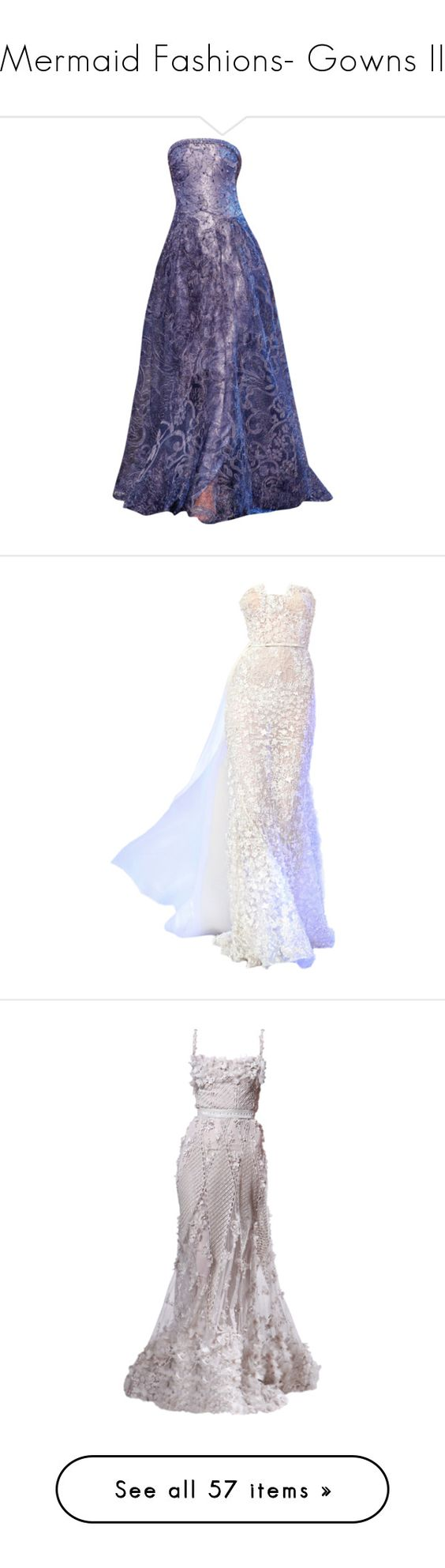 """""""Mermaid Fashions- Gowns II"""" by lunabones ❤ liked on Polyvore featuring dresses, gowns, long dresses, purple, vestidos, purple evening gowns, purple gown, blue ball gown, long tube dress and armani prive dresses"""