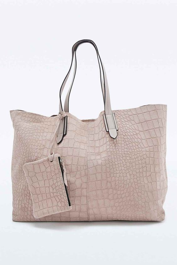 Out From Under - Sac fourre-tout en daim effet croco gris