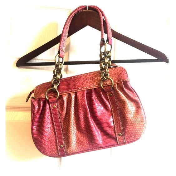 Purse Great statement piece orange and pink faux snakeskin. great quality. New with tags's Emilie m. Bags Mini Bags