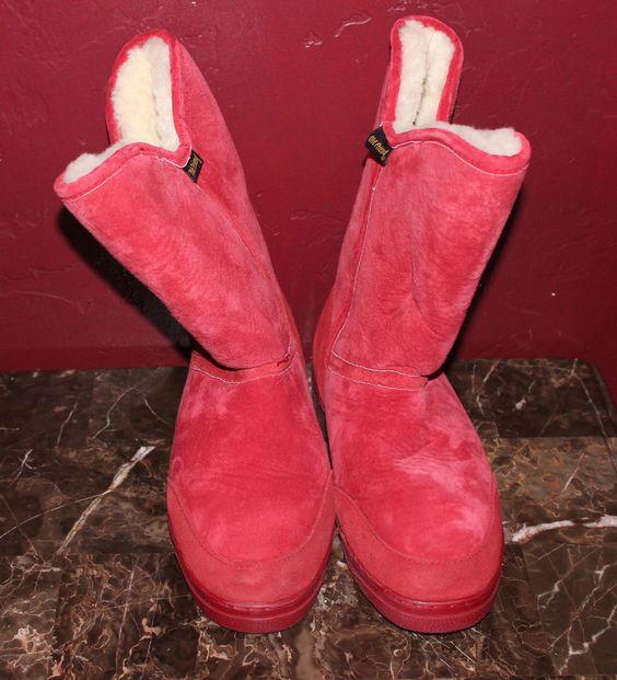 NEW Old Friend Shocking Red Women's Sheepskin Snow Boots #OldFriend #SnowWinter
