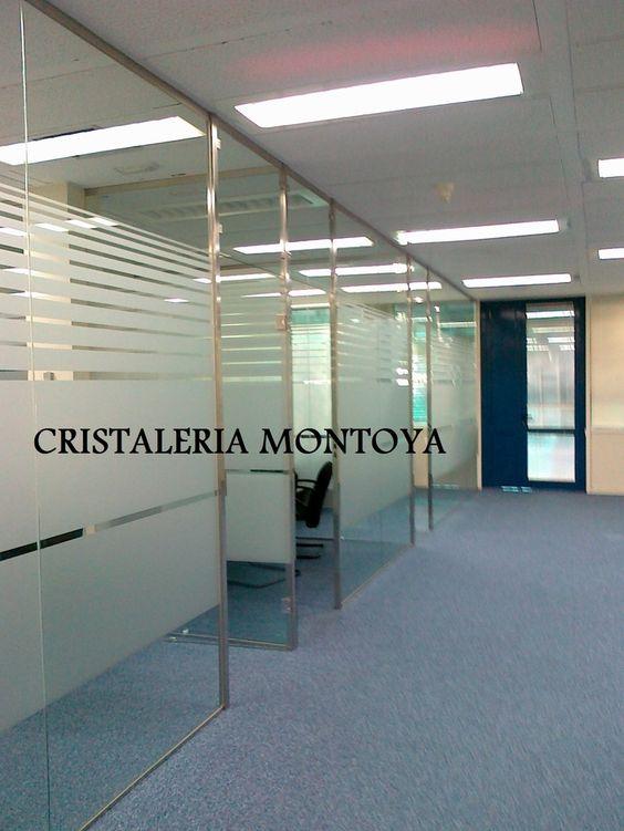 Separaci n de oficinas en vidrio fijos en vidrio de for Puertas de cristal para oficina