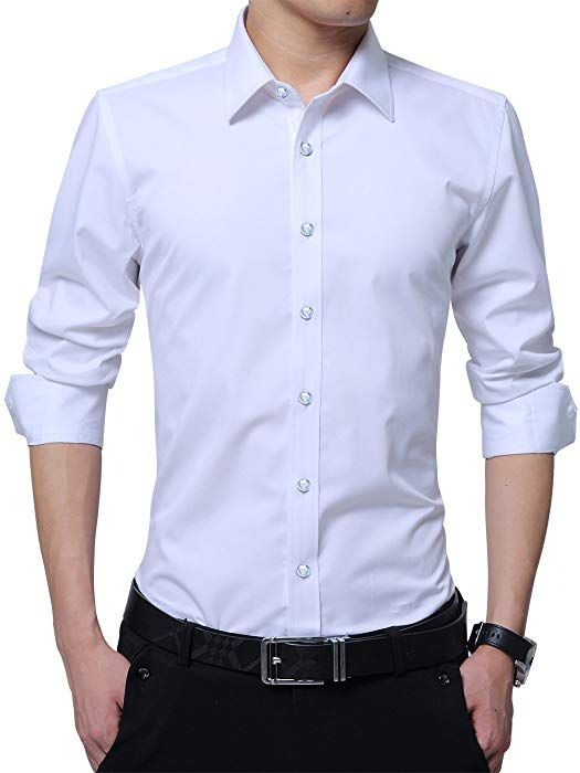 YYear Men Button Down Short Sleeve Solid Slim Fit Dress Shirt with Pocket
