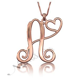 """""""A Piece of My Heart"""" Initial Necklace in 10k Rose Gold"""