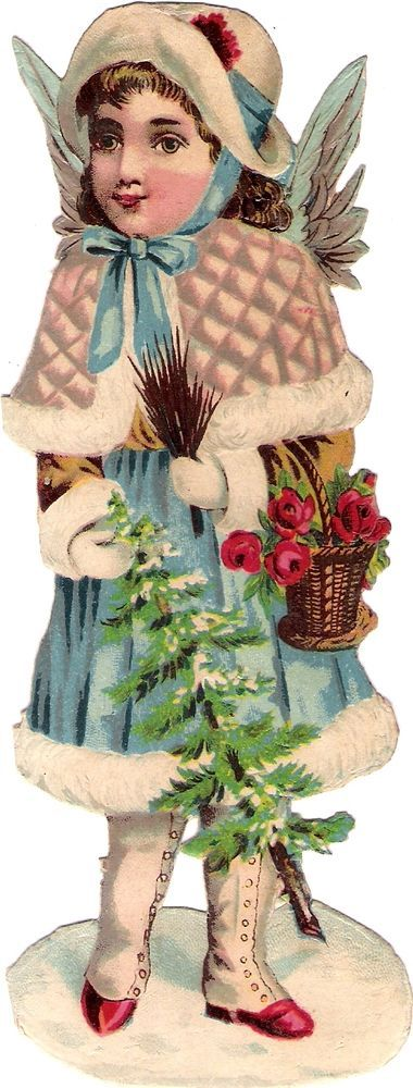 Oblaten Glanzbild scrap die cut  Winter Engel  16,5cm XMAS angel Baum Rosen Korb:
