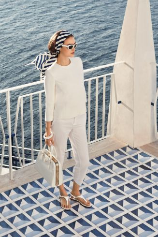 | P | Summer Ease - Classic White with a navy striped scarf: