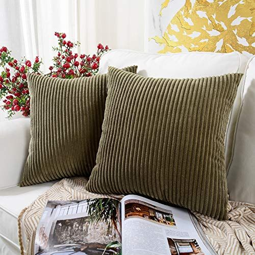 Mernette Pack Of 2 Corduroy Soft Decorative Square Throw Pillow Cover Cushion Covers Pillowcase Home De Throw Pillows Square Throw Pillow Pillows