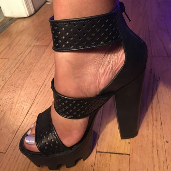 Ankle Strap Lug Sole Platform High Heels