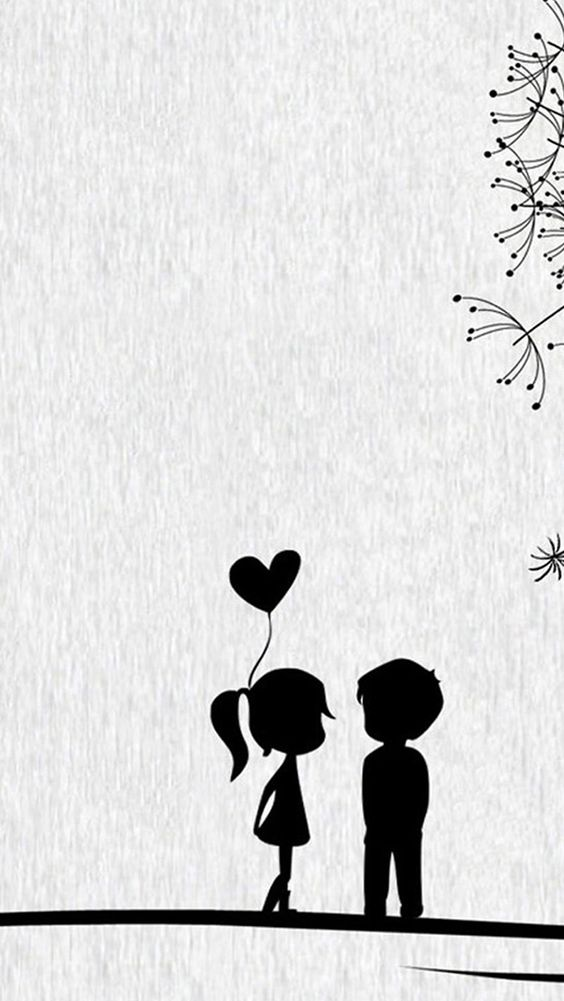Love Cute Cartoon Little Couple Iphone Wallpapers Papel De Parede Romantico Wallpaper De Desenhos Animados Papeis De Parede