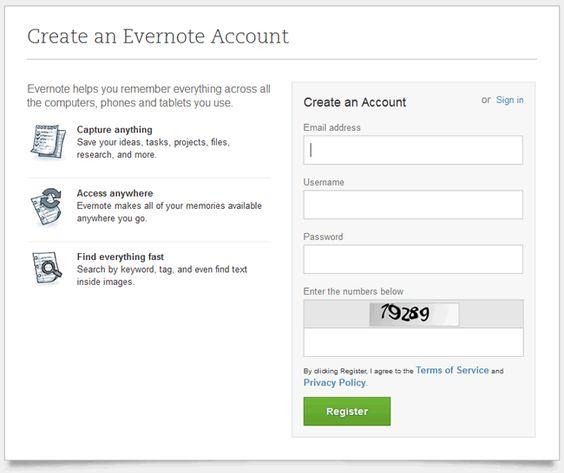 Evernote Online Signup Form Design Example  Form Ui