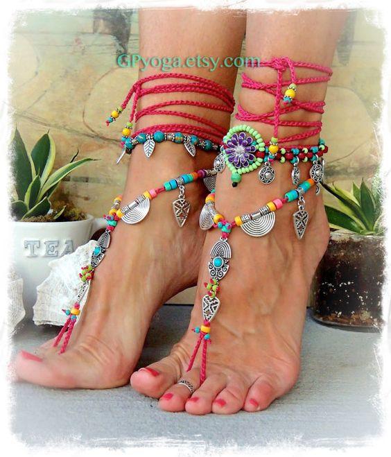 Reservados. Tobillo sandalias color de rosa caliente por GPyoga