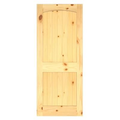Jeld Wen Woodgrain 2 Panel Archtop V Groove Solid Core Finished Knotty Pine Interior Door Slab