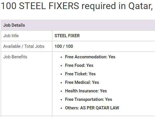 Steel Fixer Jobs In Qatar 2019 100 Vacancies Overseas Jobs Job Job Benefits