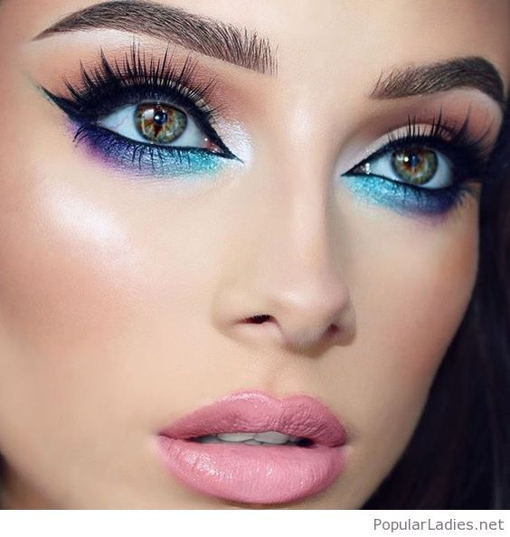 Galaxy eye makeup for brown eyes