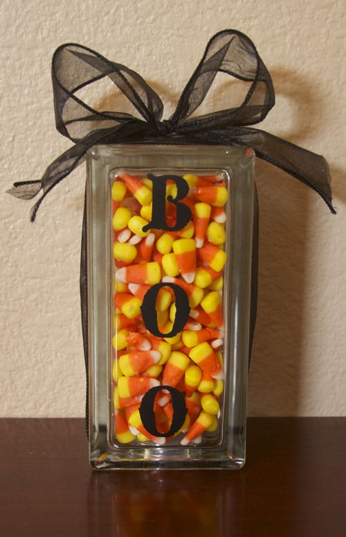 Halloween candy corn centerpiece or guess how many